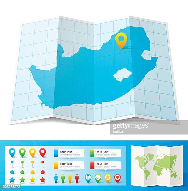 South Africa Map with location pins isolated on white Background