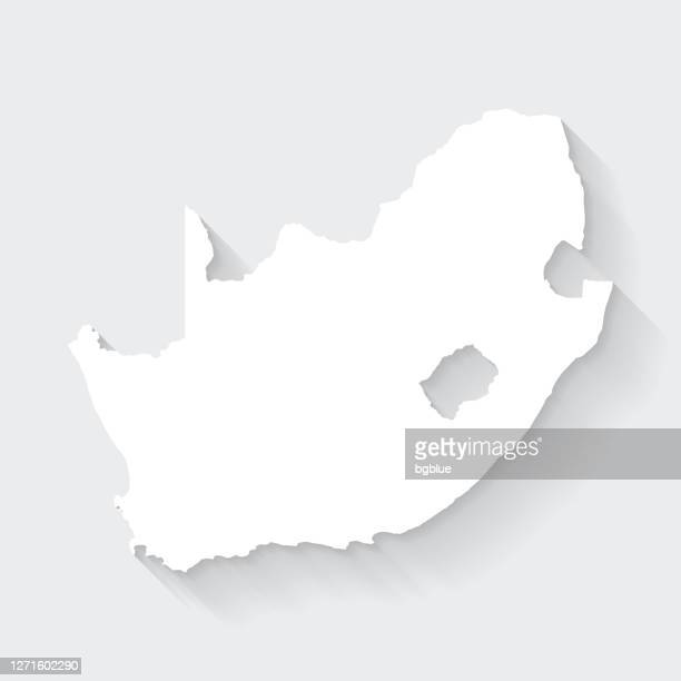 south africa map with long shadow on blank background - flat design - gauteng province stock illustrations
