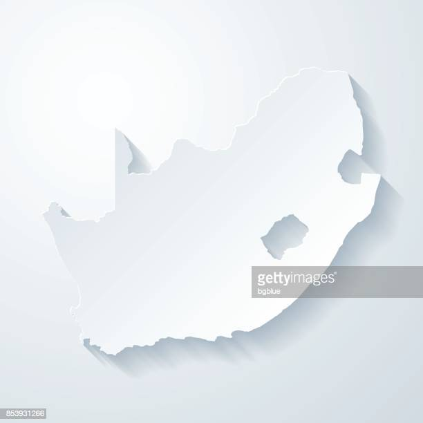 South Africa map with paper cut effect on blank background