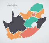 South Africa Map with states and modern round shapes