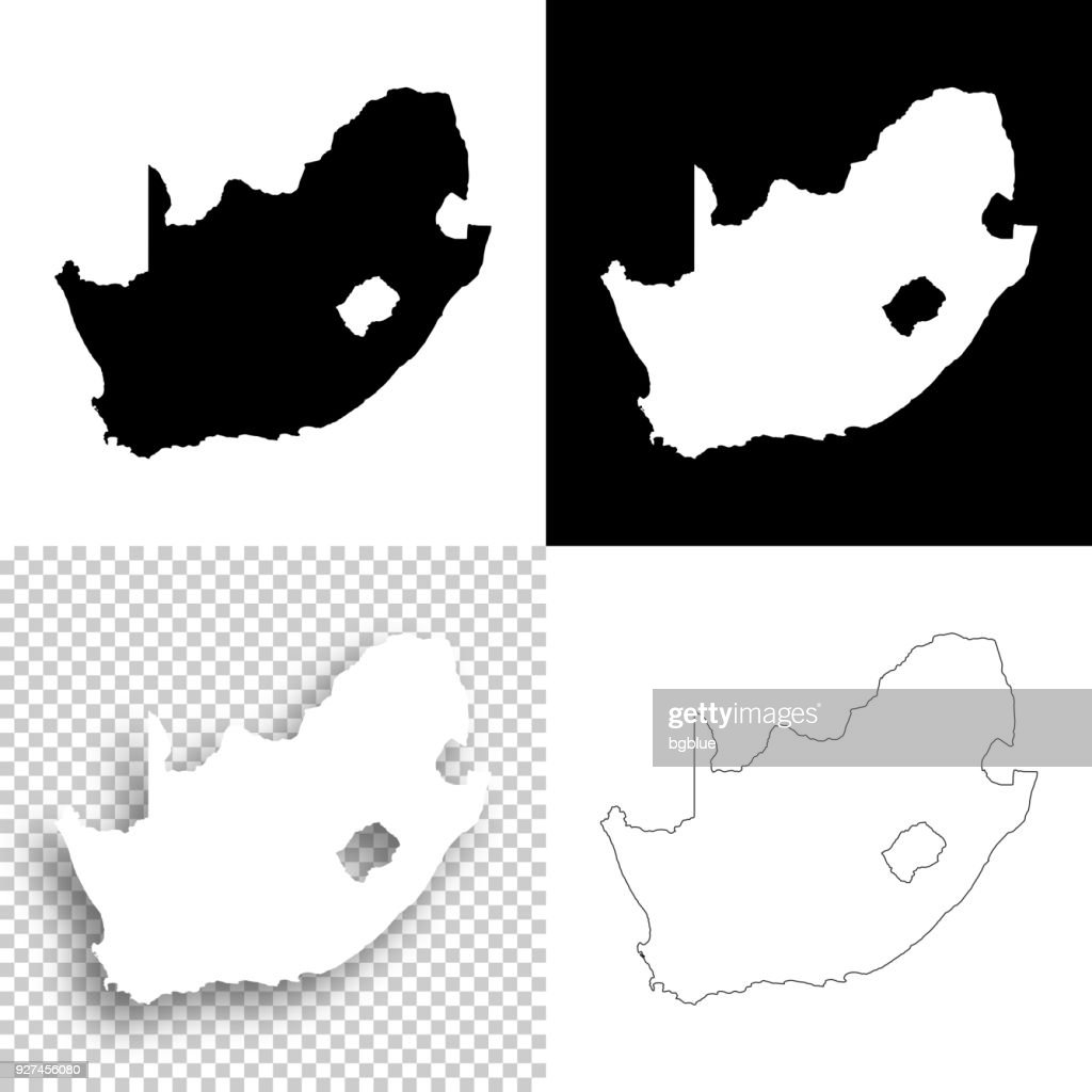 South Africa maps for design - Blank, white and black backgrounds : Stock Illustration