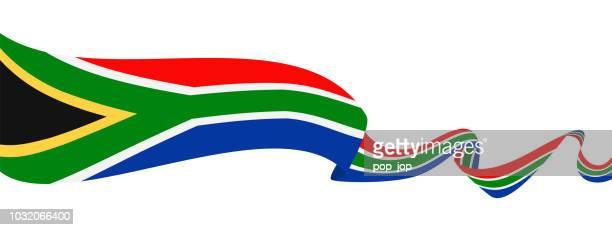 ilustrações, clipart, desenhos animados e ícones de áfrica do sul - fita bandeira vector ícone plana - bandeira sul africana