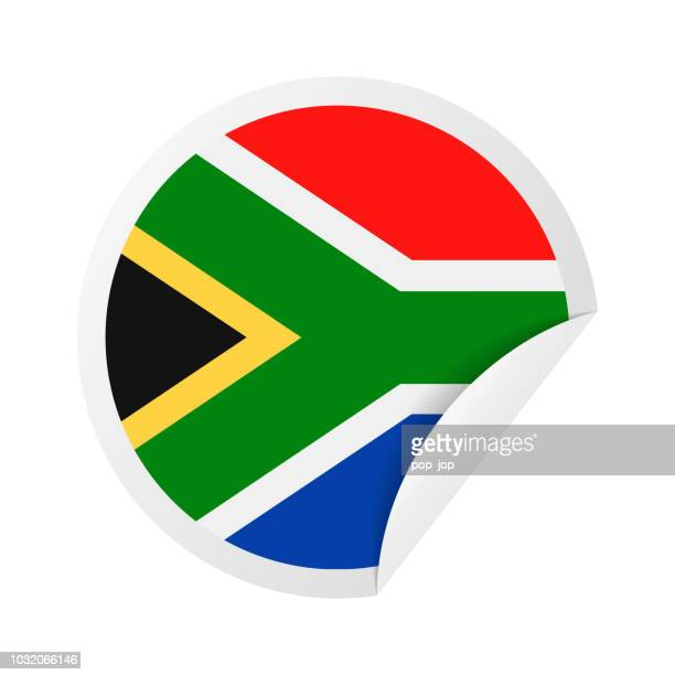South Africa - Round Paper Corner Flag Vector Flat Icon