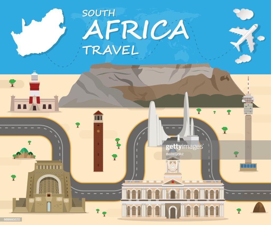 South africa travel background Landmark Global Travel And Journey Infographic Vector Design Template. illustration.