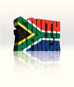3D South Africa Vector Word Text Flag