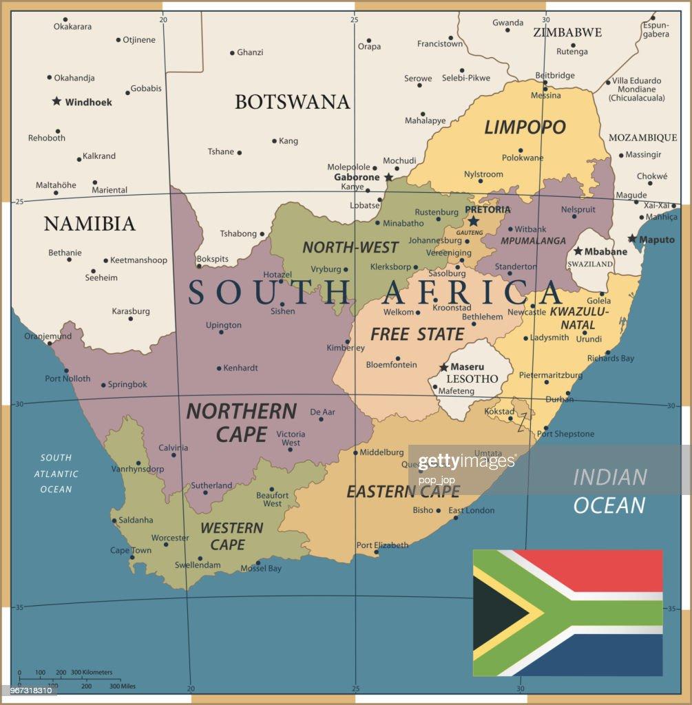 20 - South Africa - Vintage Color Dark : stock illustration