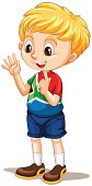 South African boy counting with fingers