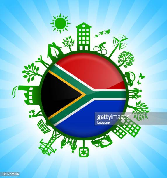 South African Flag on Environmental Conservation Background