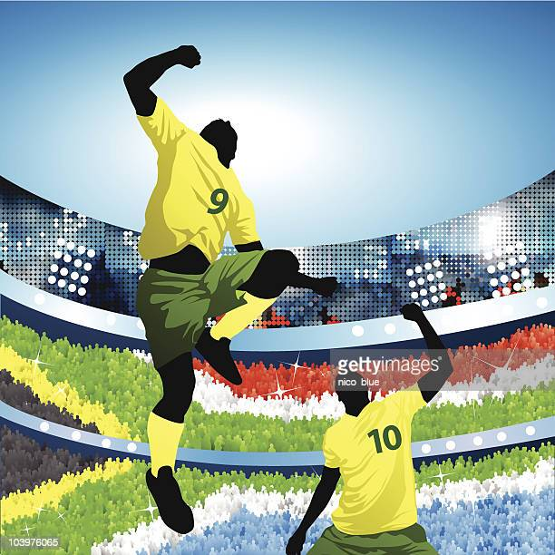 South african soccer players celebrating at home