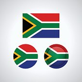 South African trio flags, vector illustration