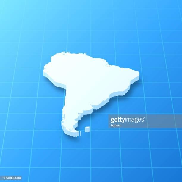 ilustraciones, imágenes clip art, dibujos animados e iconos de stock de mapa 3d de américa del sur sobre fondo azul - islas malvinas