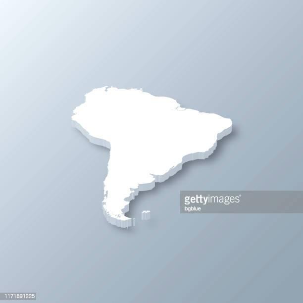 ilustraciones, imágenes clip art, dibujos animados e iconos de stock de mapa 3d de américa del sur sobre fondo gris - islas malvinas