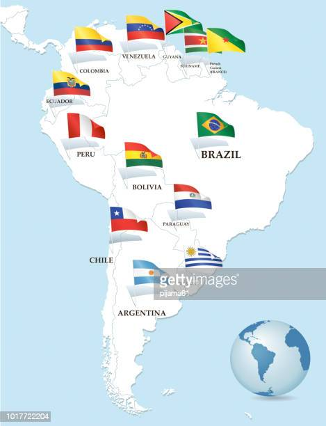 South America and flags blue background
