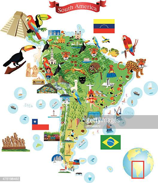 south america cartoon map - colombia stock illustrations