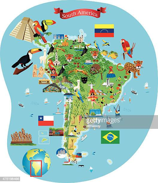 south america cartoon map - latin america stock illustrations, clip art, cartoons, & icons