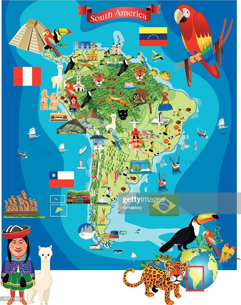 South America Cartoon Map stock illustration - Getty Images on