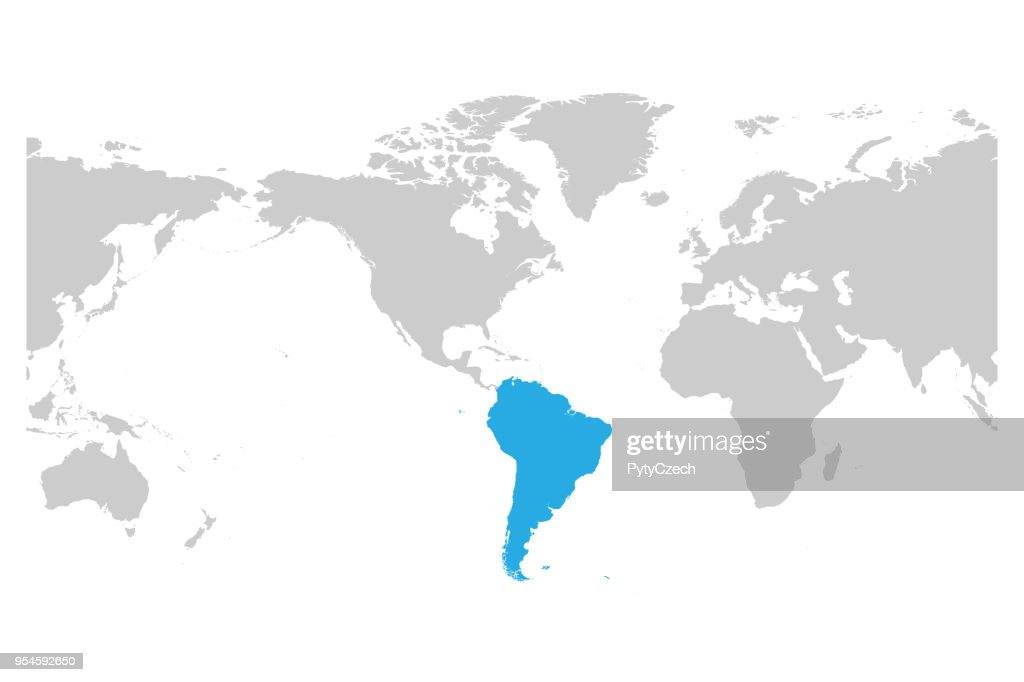 South America Continent Blue Marked In Grey Silhouette Of World Map. Simple  Flat Vector Illustration