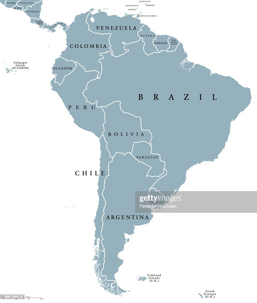 South America countries political map