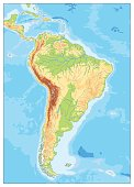 South America Detailed Physical Map. No text