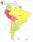 South America Detailed Political Map Isolated On White