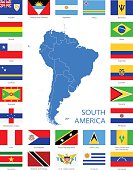 South America - Flags and Map - Illustration