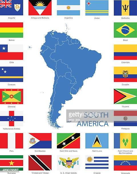 south america - flags and map - illustration - dominican republic flag stock illustrations