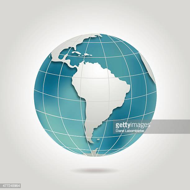 Südamerika Welt mit Schatten In Blaugrün und Grau