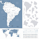 South America Highly Detailed Map and World Map