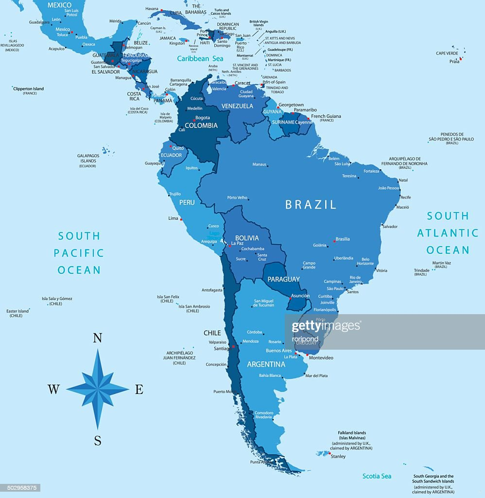 South America - highly detailed map