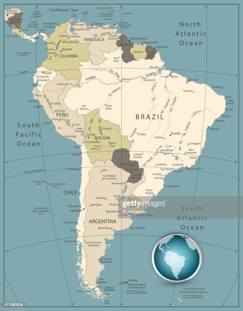 South America Highly Detailed Map