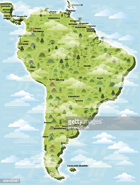 South America illustrated map.