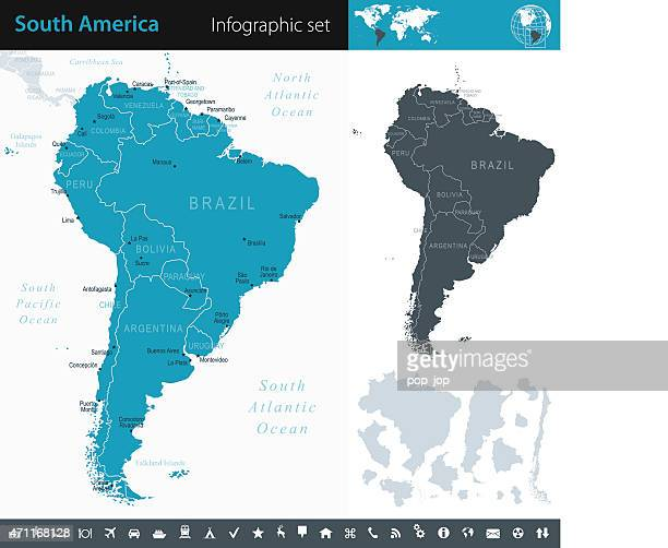 South America - Infographic map - illustration
