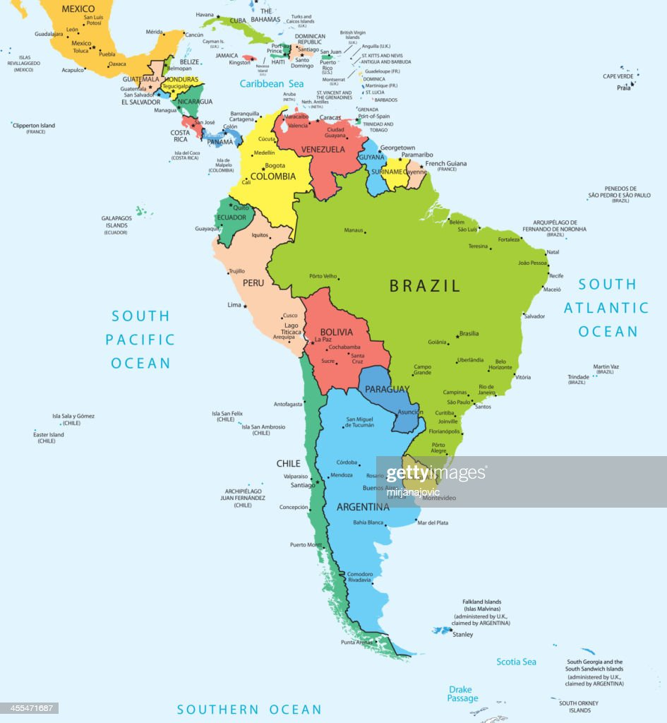South America Map Countries And Cities Vector Art | Getty Images