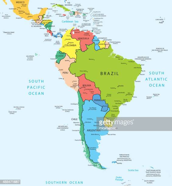 south america map countries and cities - latin america stock illustrations, clip art, cartoons, & icons