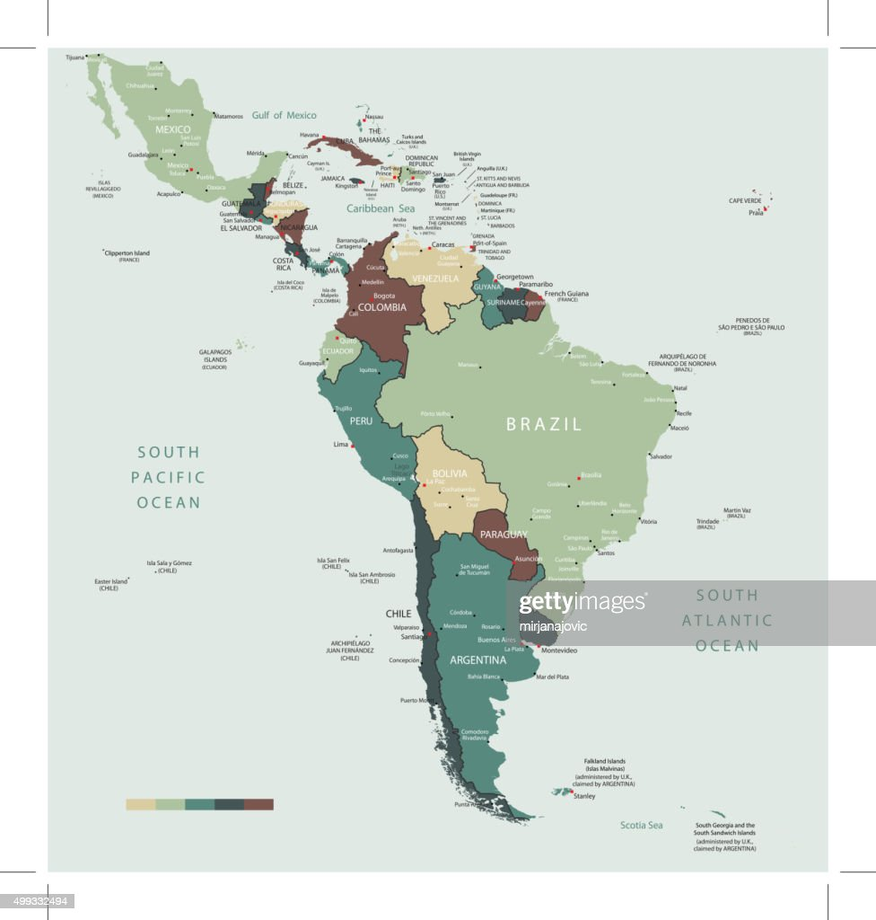 South America Map Countries And Cities Vector Art Getty Images