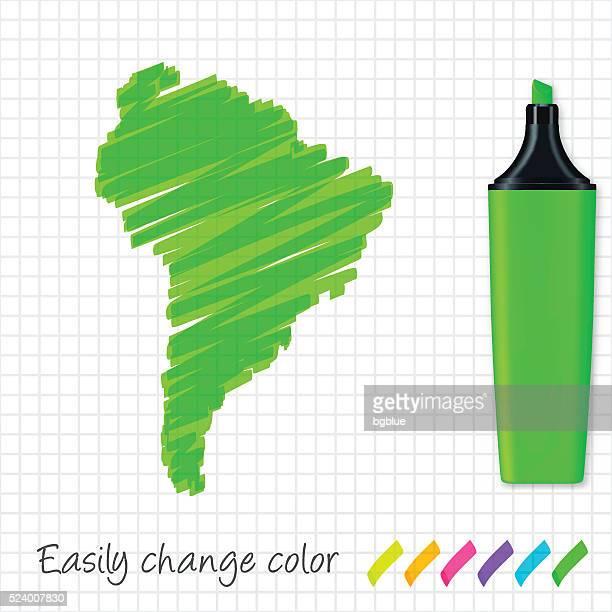 ilustraciones, imágenes clip art, dibujos animados e iconos de stock de américa del sur mapa dibujado a mano sobre papel cuadriculado, resaltador verde - islas malvinas