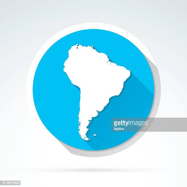South America map icon, Flat Design, Long Shadow