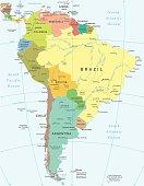 South America - map - illustration