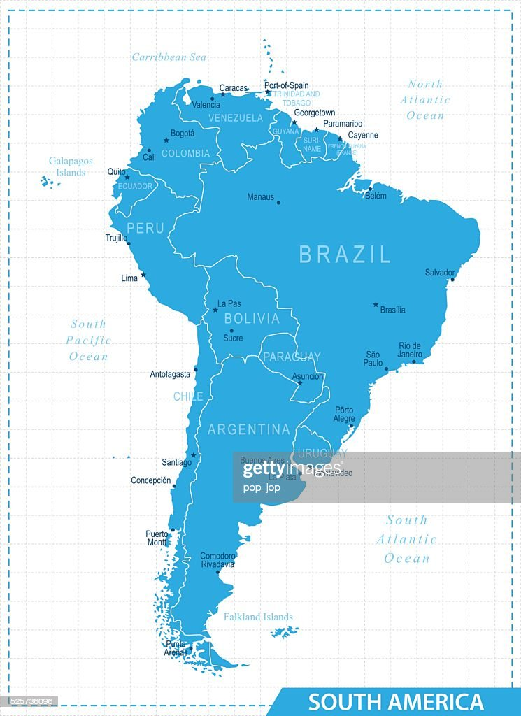 South America Map Illustration Vector Art Getty Images