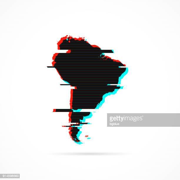 ilustraciones, imágenes clip art, dibujos animados e iconos de stock de mapa de américa del sur en estilo glitch distorsionada. moderno efecto moda - islas malvinas