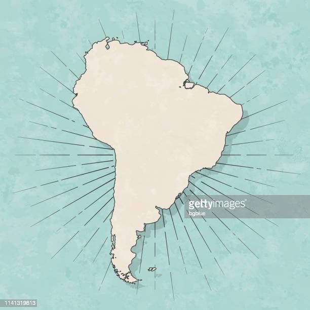 illustrazioni stock, clip art, cartoni animati e icone di tendenza di mappa sudamericana in stile vintage retrò - vecchia carta strutturata - america del sud