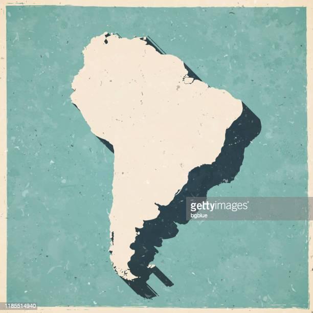 ilustraciones, imágenes clip art, dibujos animados e iconos de stock de mapa de américa del sur en estilo retro vintage - papel con textura antigua - islas malvinas