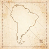South America map in retro vintage style - old textured paper