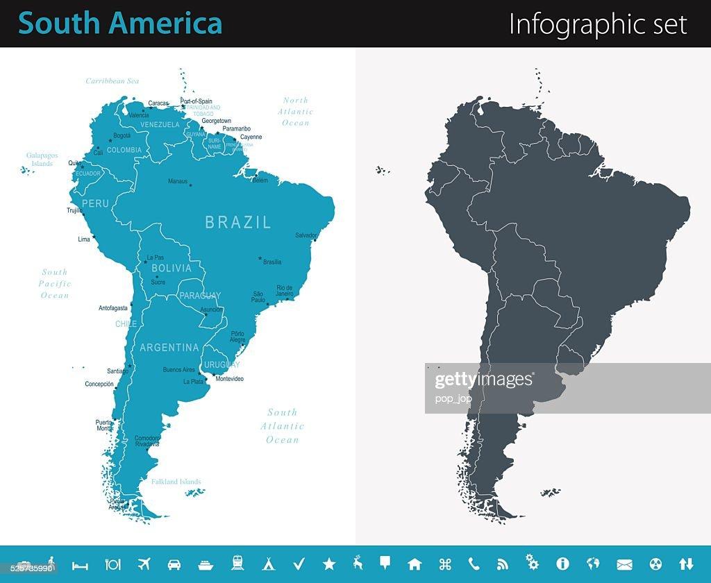 南米マップ-インフォグラフィックセット : ストックイラストレーション
