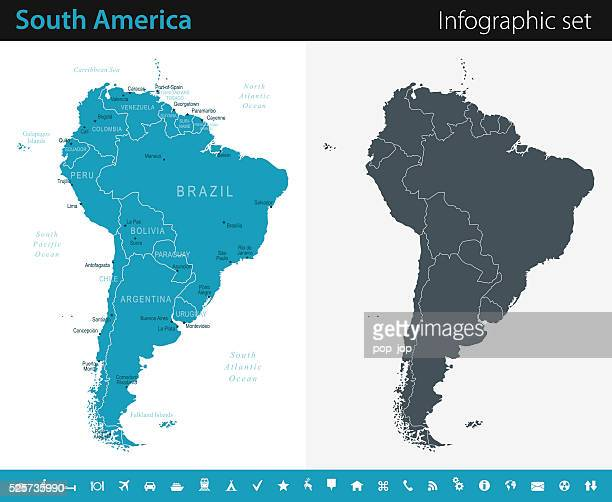south america map - infographic set - the americas stock illustrations