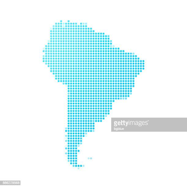 South America map of blue dots on white background