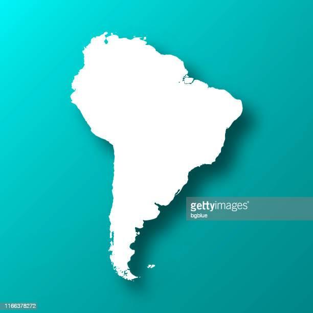ilustraciones, imágenes clip art, dibujos animados e iconos de stock de mapa de américa del sur sobre fondo verde azul con sombra - islas malvinas
