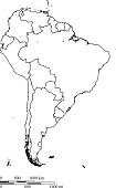 South America map outline vector with countries borders and scales