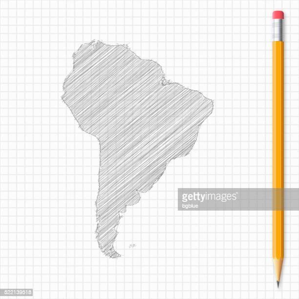ilustraciones, imágenes clip art, dibujos animados e iconos de stock de américa del sur mapa de dibujo lápiz de red de papel - islas malvinas