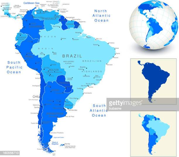 south america map with blue globe and country outlines - latin america stock illustrations, clip art, cartoons, & icons